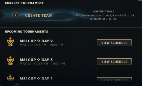 Clash MSI Cup Times