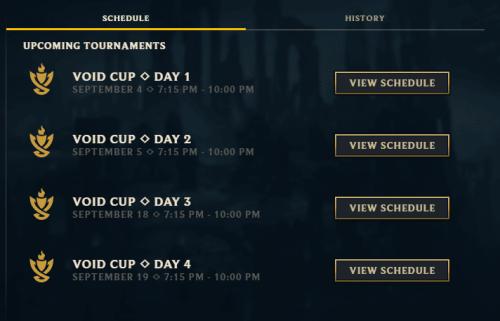 Void Clash Schedule