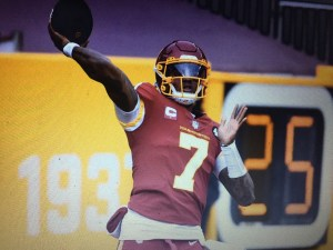 Washington Football Team's Dwayne Haskins warming up