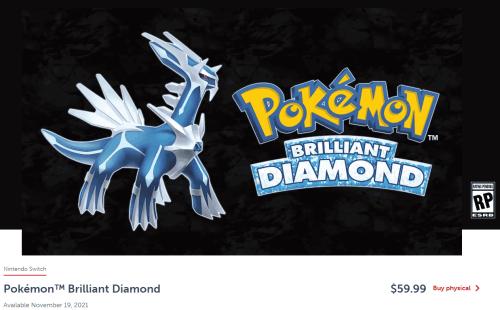 Pokemon Brilliant Diamond Preorder