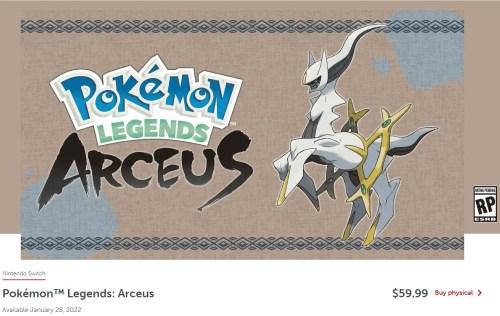 Pokemon Legends Arceus Preorder