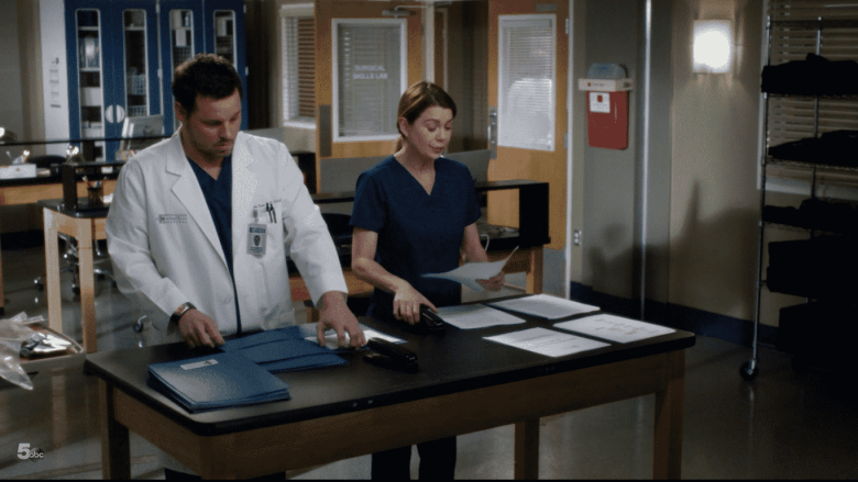 alex and meredith stapling