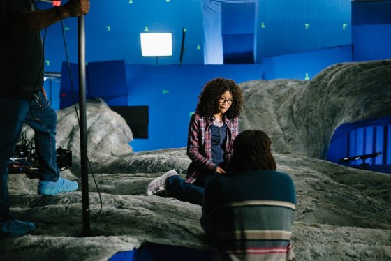 Storm Reid & Ava DuVernay on the set of A Wrinkle In Time