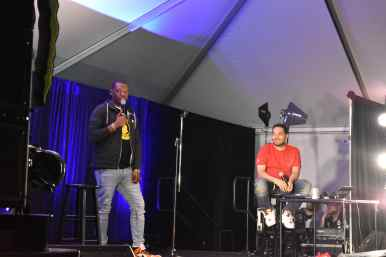 Michael Che from SNL and DJ Cipha Sound Photo Source: Shannon Parola