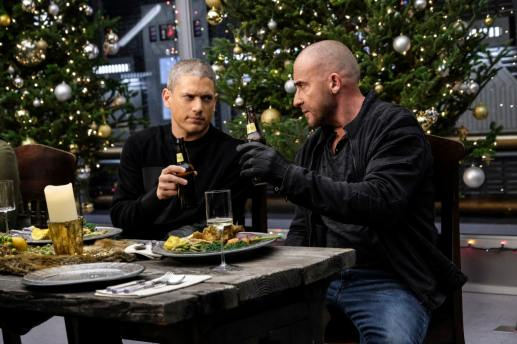 Wentworth Miller as Leo -- X/Citizen Cold (left) and Dominic Purcell as Mick Rory/Heat Wave (right). Photo courtesy of DC Legends TV.