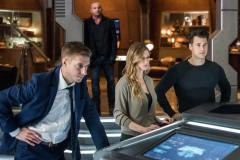 Pictured (L-R): Arthur Darvill as Rip Hunter, Dominic Purcell as Mick Rory/Heat Wave, Jes Macallan as Ava Sharpe and Nick Zano as Nate Heywood/Steel. Photo courtesy of DC Legends TV.