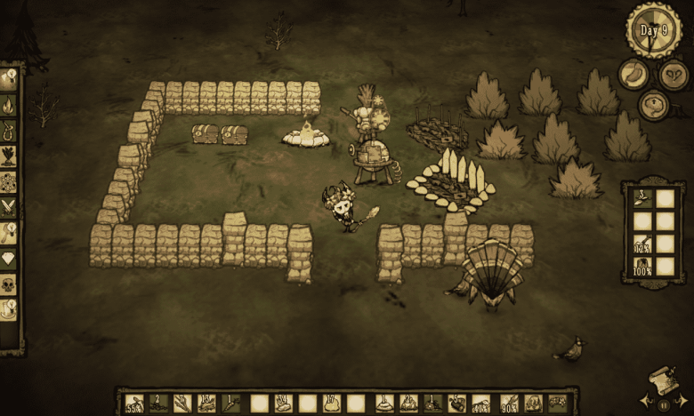 Base in progress on Don't Starve
