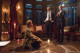Pictured (L-R): Matt Ryan as Constantine, Adam Tsekhman as Agent Gary Green and Jes Macallan as Ava Sharpe. Photo courtesy of DC Legends TV.