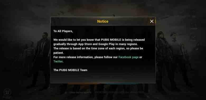 Notice from PUBG