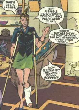Shamrock becomes a hairdresser in Excalibur #108