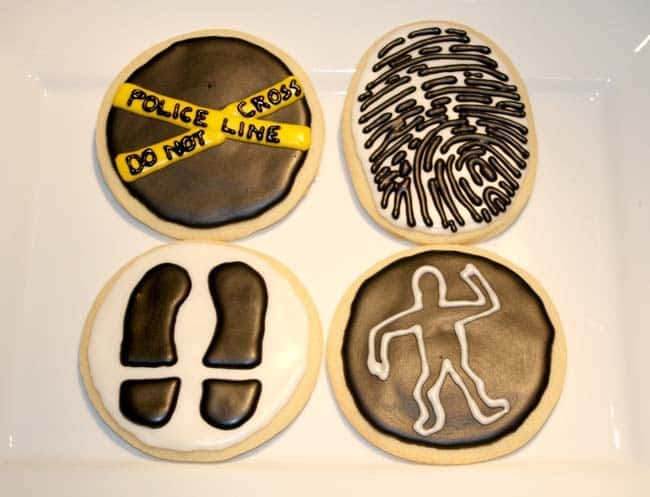 Crime scene themed cookies