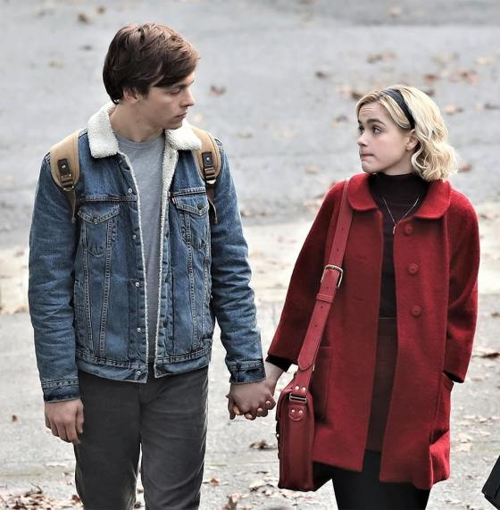 *EXCLUSIVE* First look at Kiernan Shipka and Ross Lynch on the set of the 'Sabrina' series reboot