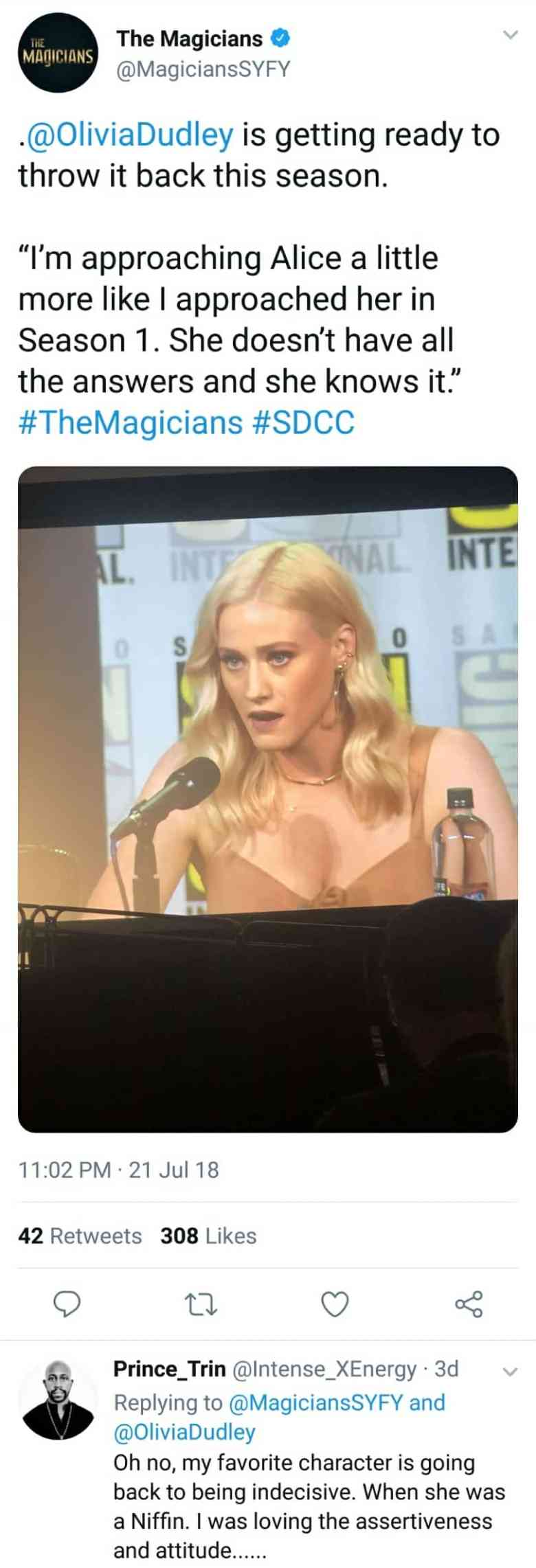 Olivia taylor dudley alice the magicians panel sdcc 2018