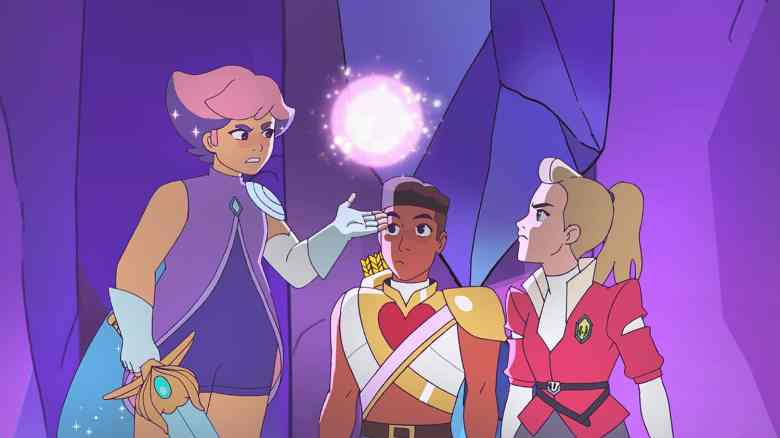 Glimmer, Bow, and Adora on She-Ra and the Princesses of Power.