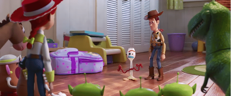 Forky and Woody in Toy Story 4