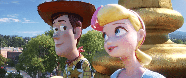 Woody and Little Bo Peep in Toy Story 4.