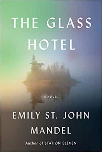 Cover art for The Glass Hotel which features an island shrouded in mist