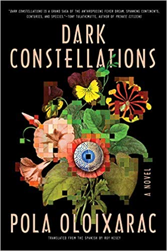 Cover of the English language edition of Dark Constellations, which features an image of flowers and an eyeball, distorted by computer pixels