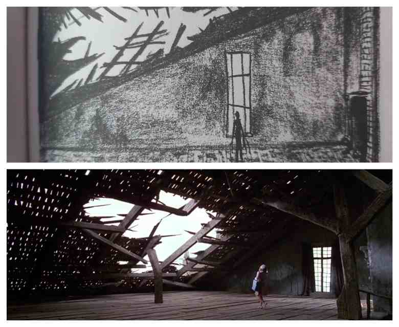 The attic sketch vs film