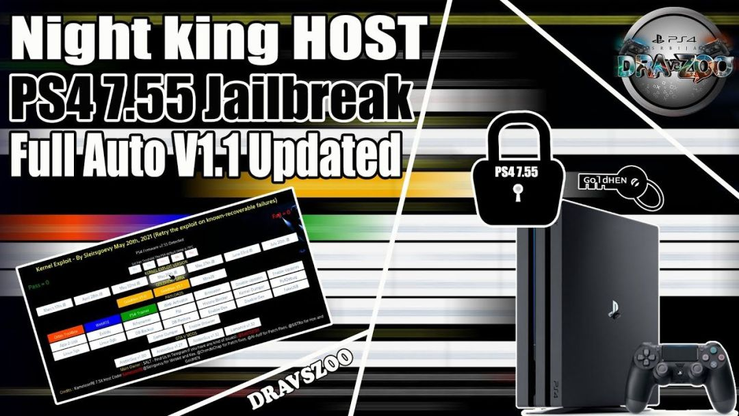 PS4 7.55 Jailbreak Night king HOST Full Auto V1.1 Updated