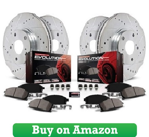 Power Stop K200 Front & Rear Brake Kit with DrilledSlotted Brake Rotors and Z23 Evolution Ceramic Brake Pads