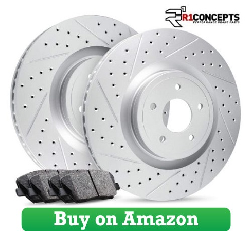 Front Kit Premier Series Drilled Slotted Brake Rotors Kit & Ceramic Brake Pads