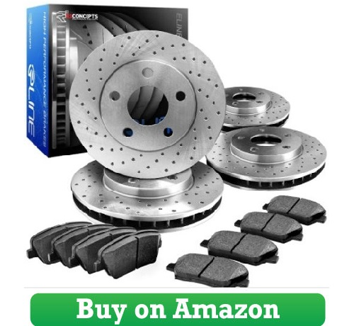 R1 Concepts CEX11381 Eline Series Cross-Drilled Rotors And Ceramic Pads Kit