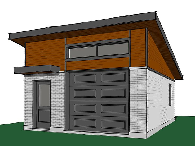 Modern One-Car Garage Plan # 028G