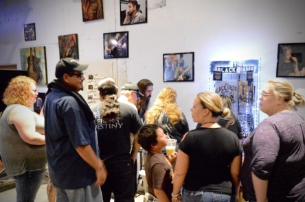 New fans at the merch table - manned by Ian (The Black Order, Vocals/guitar)