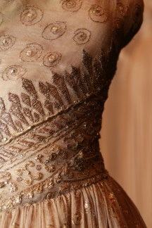 Christian Dior, Paris fashion house France est. 1946 Christian Dior designer France 1905–Italy 1957 Soirée de Lahore, evening dress (detail) 1955 winter silk (organza), metallic thread, diamanté The Dominique Sirop Collection National Gallery of Victoria, Melbourne