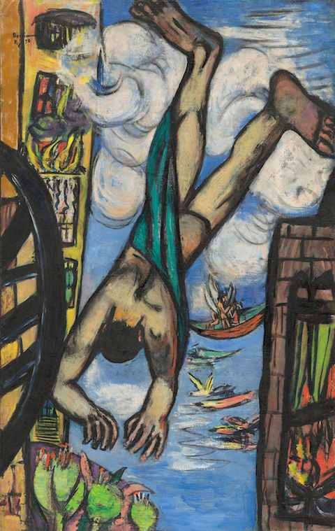 Max Beckmann (German, Leipzig 1884–1950 New York) Falling Man 1950 Oil on canvas 55 1/2 × 35 in. (141 × 88.9 cm) Frame: 62 1/4 × 41 1/4 × 2 3/4 in. (158.1 × 104.8 × 7 cm) National Gallery of Art, Washington, Gift of Mrs. Max Beckmann SL.9.2016.13.1 © 2016 Artists Rights Society (ARS), New York / VG Bild-Kunst, Bonn