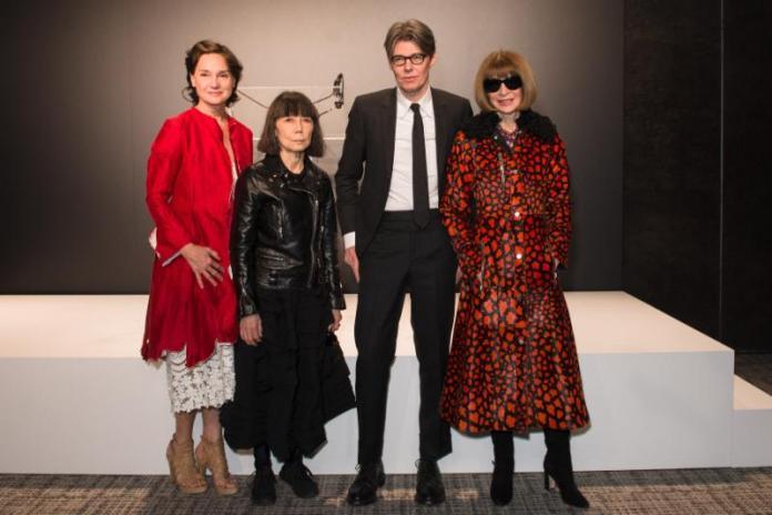 Photo 2 Caption:(from left) Carrie Rebora Barratt, Rei Kawakubo, Andrew Bolton, and Anna Wintour at The Met'sRei Kawakubo/Comme des Garçons: Art of the In-Betweenadvance press event.