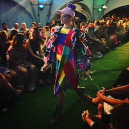 An explosion of colour, tartan and crochet from P'Junk by Kate Hannah - essential on stage garb for the ladies of Splendour In The Grass