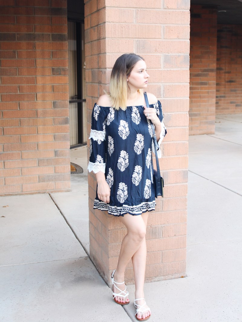 summer to fall transition dresses! off the shoulder cold shoudler dress. style and fashion for postpartum moms.