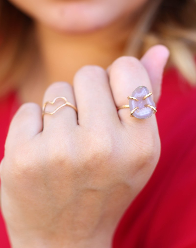heart ring and crystal gem ring // jewelry