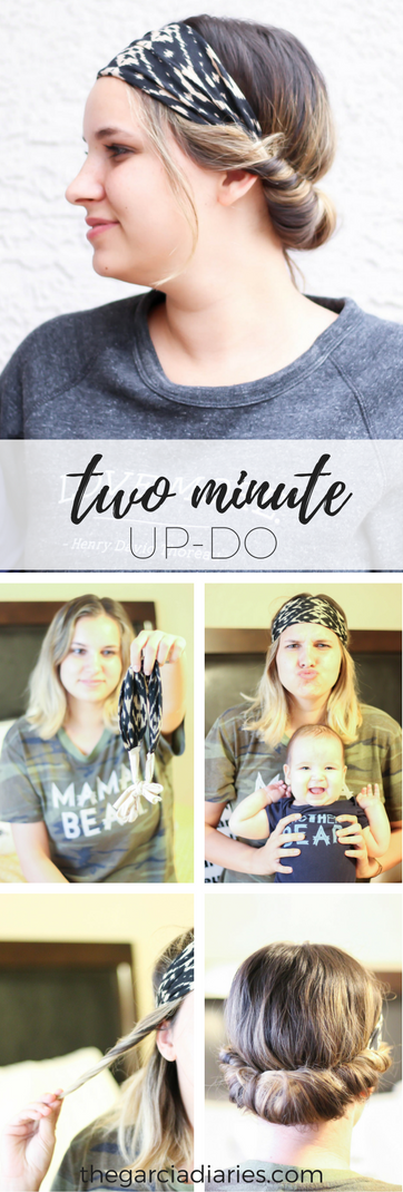 two minute updo. quick and easy hair tutorial.
