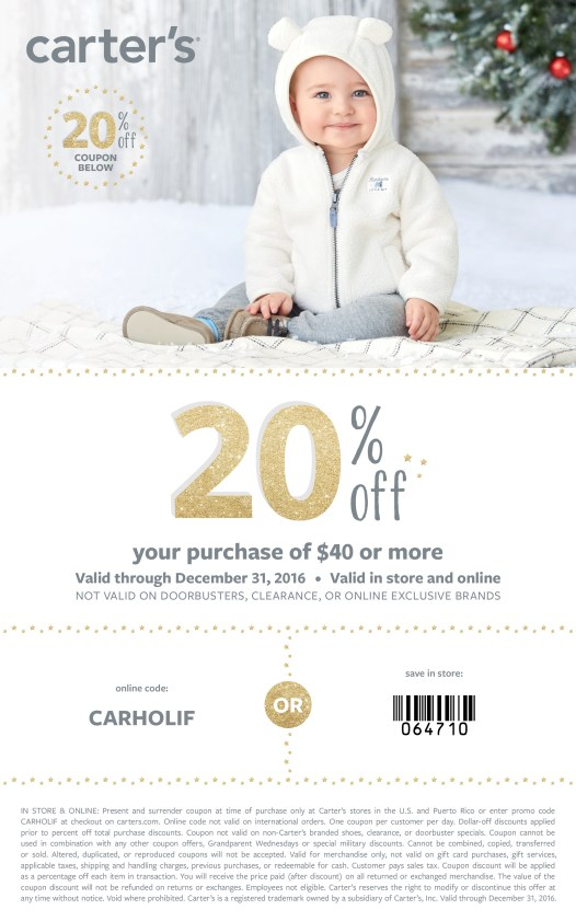 Carter's coupon for Holiday shopping!