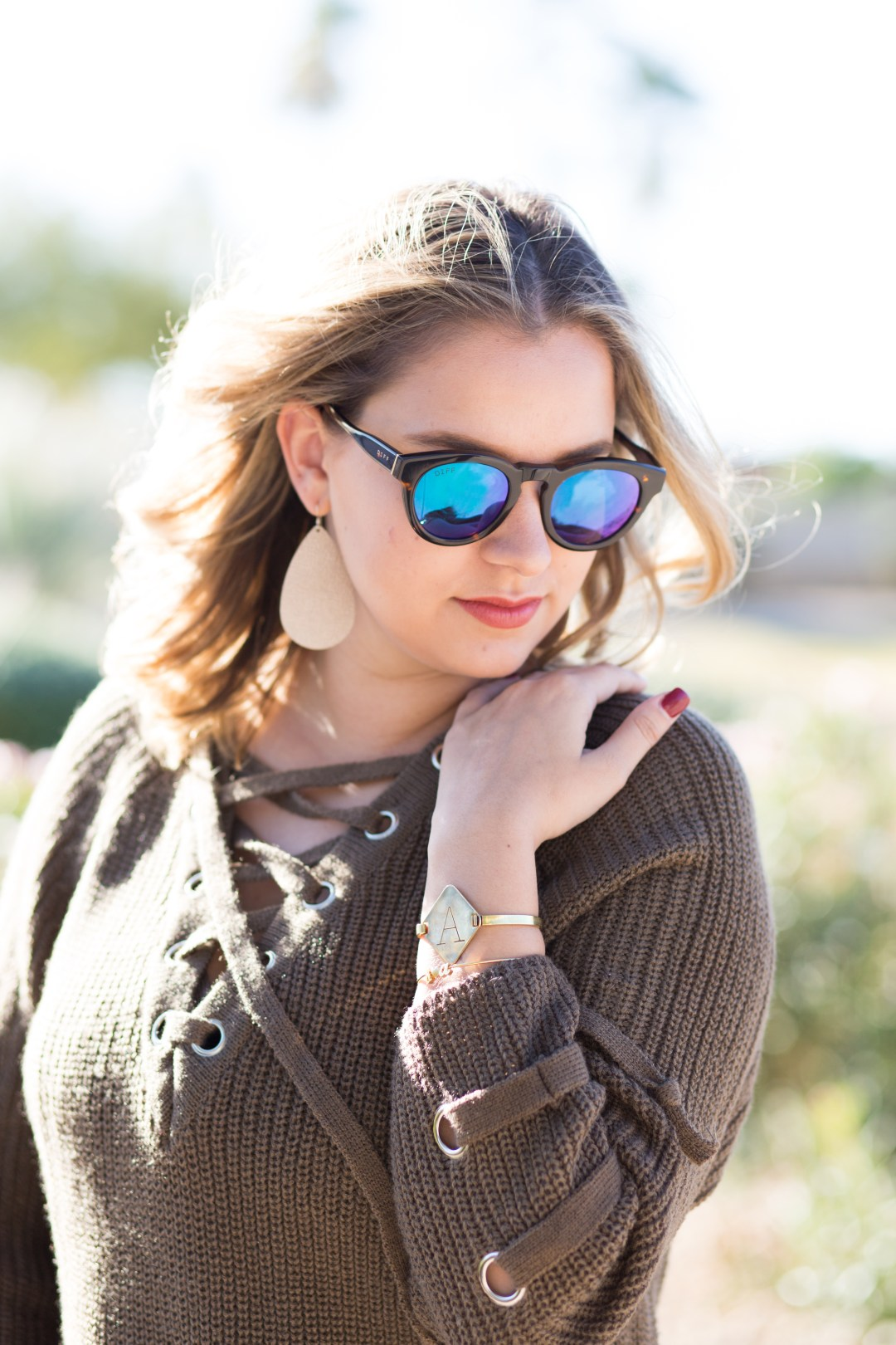 Lace up trend + diff eyewear + nickel and suede + silver loft + brin and bell
