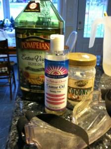 Olive oil, castor oil, coconut oil