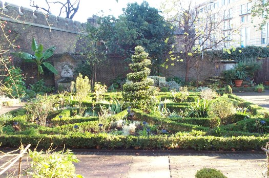 I visited this knot garden at the Garden Museum in London; I love the variegated holly topiary in the center