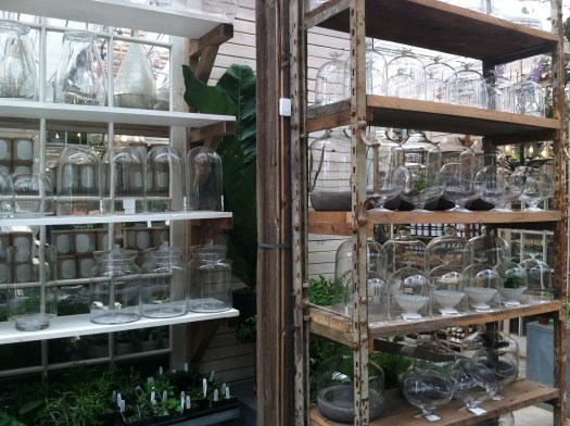 Glass containers ready to be planted at Terrain, a nursery/garden center