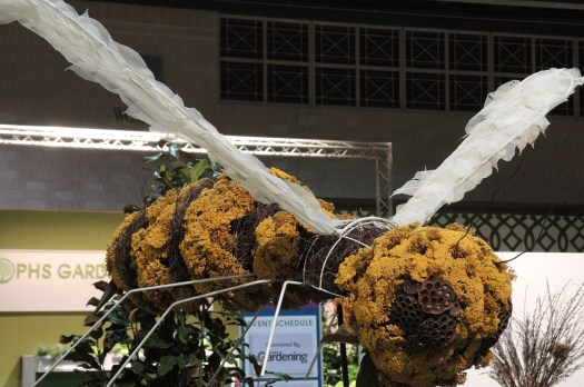 Giant bee made out of dried flowers