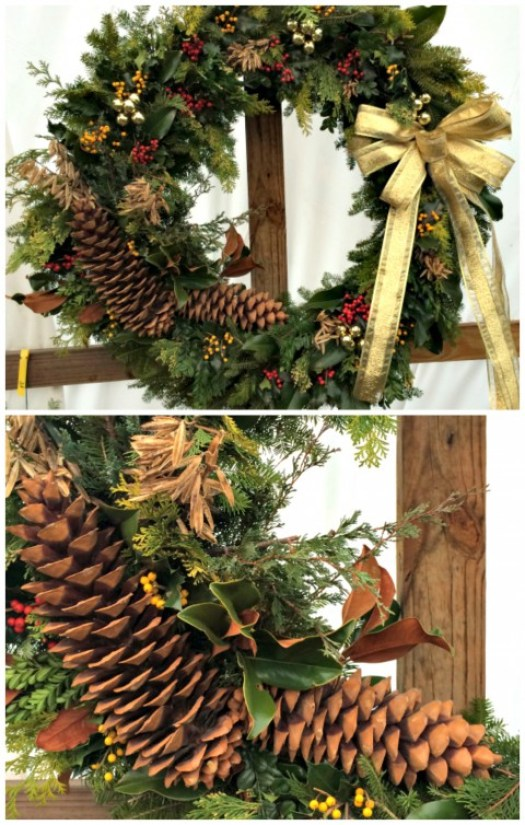 Large wreath with beautiful 15 inch sugar pine cones