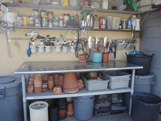 Repurposing stainless steel kitchen equipment for a garden bench
