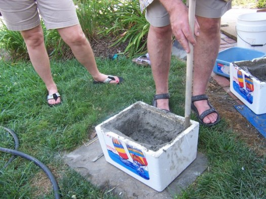 A hypertufa made in a styrofoam ice chest
