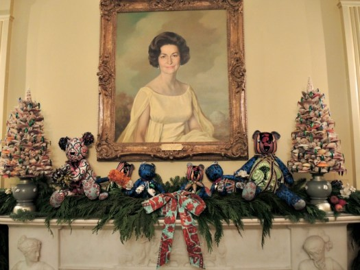 Decorated mantel in the Vermeil room at the White House