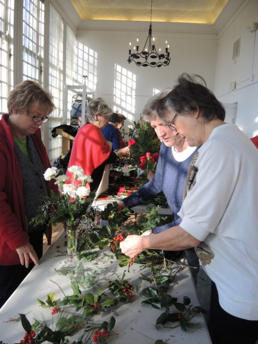 The Orangery being used by Garden Clubs to arrange the flowers