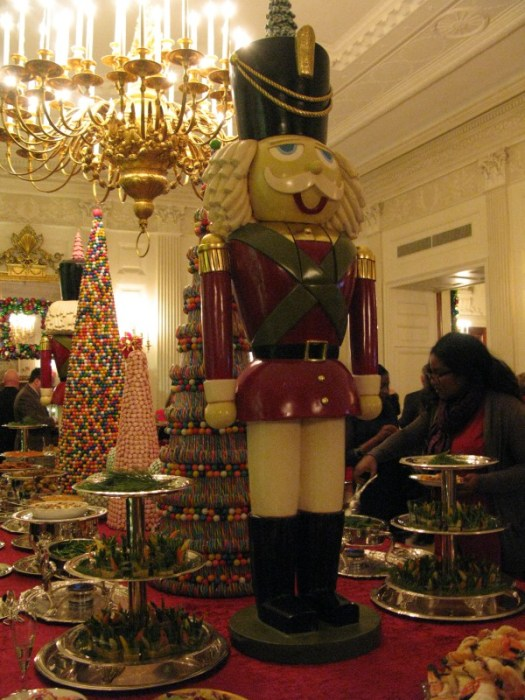 A giant nutcracker on the State Dining Room table