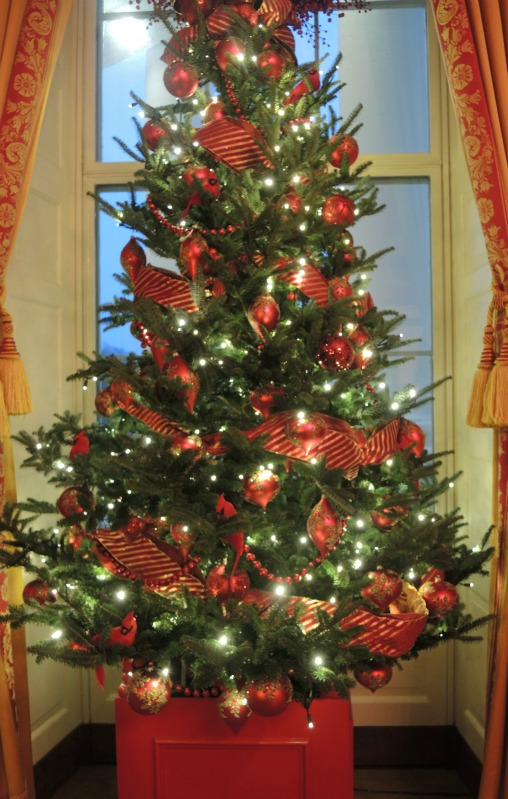 The Red Room tree wore a ribbon garland that I worked on at the White House
