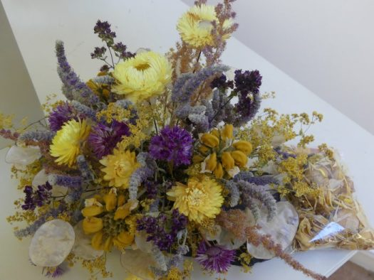 A small colorful dried arrangement
